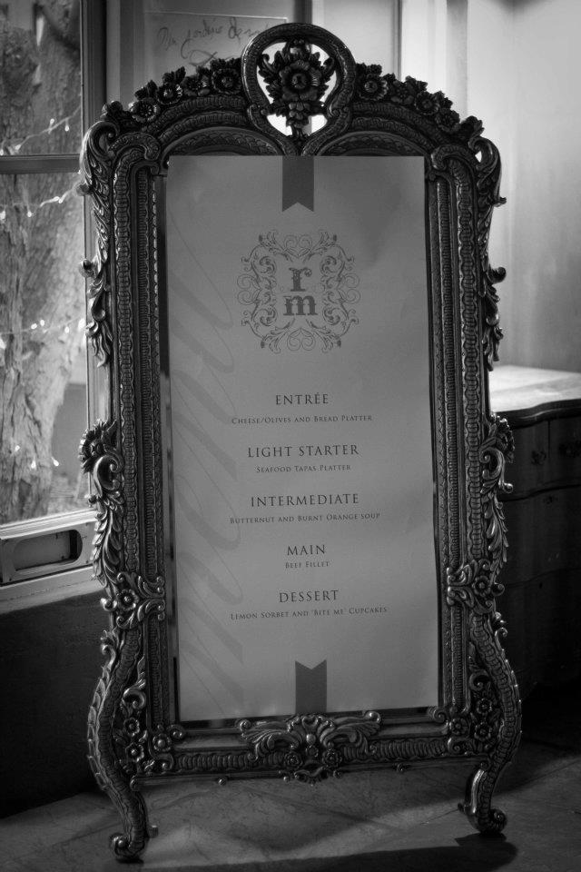 Fairy Tale Wedding French Mirror Menu
