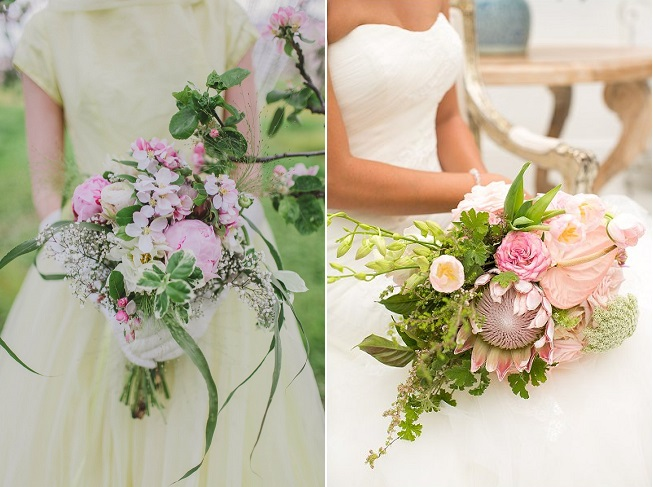 Cascade Bouquets // Kirsty-Lyn Jameson photography & Vintage Violet Floral Boutique (left) // Adene photography & Anli Wahl Florist (Right) // via www.confettidaydreams.com