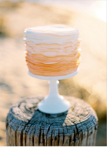 Ombre Ruffle Wedding Cake Brown