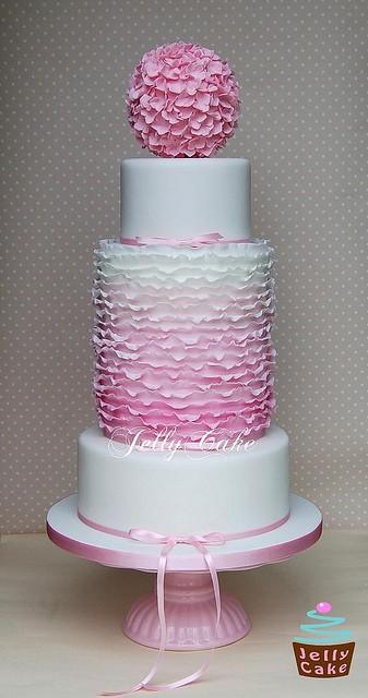 Ombre Ruffle Wedding Cake Dusky Pink