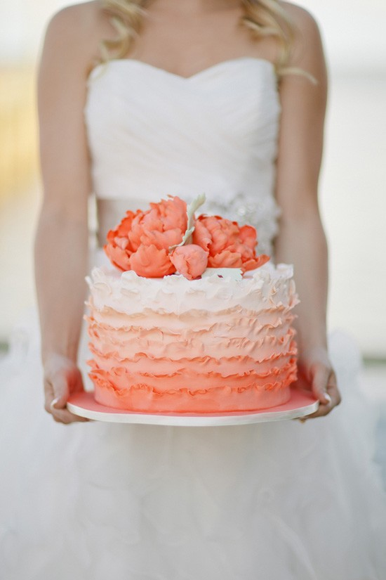 Ombre Ruffle Wedding Cake Orange and White