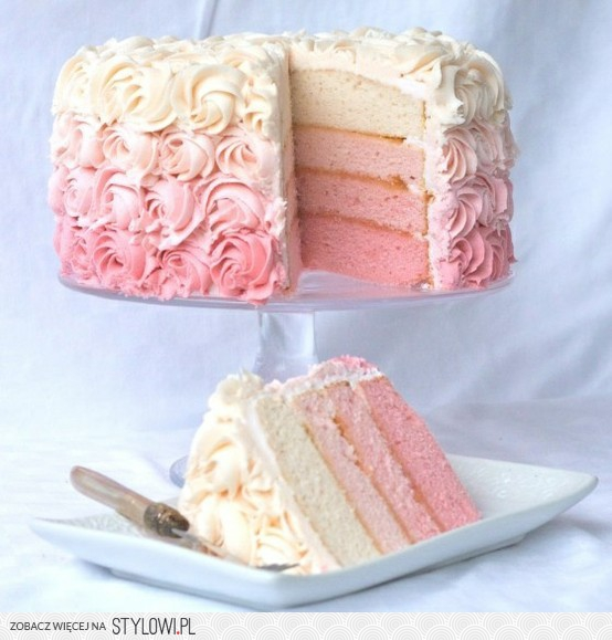 Ombre Ruffle Wedding Cake Pink