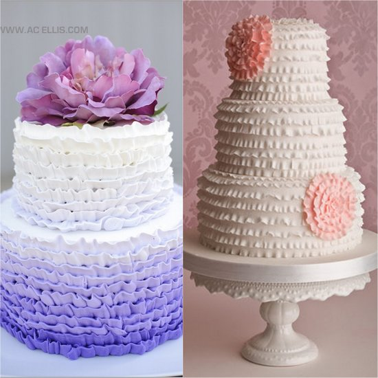 Ombre & Ruffle Wedding Cakes
