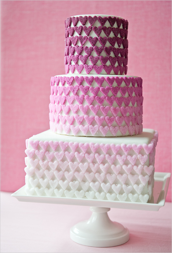 Ombre Sugar Heart Wedding Cake