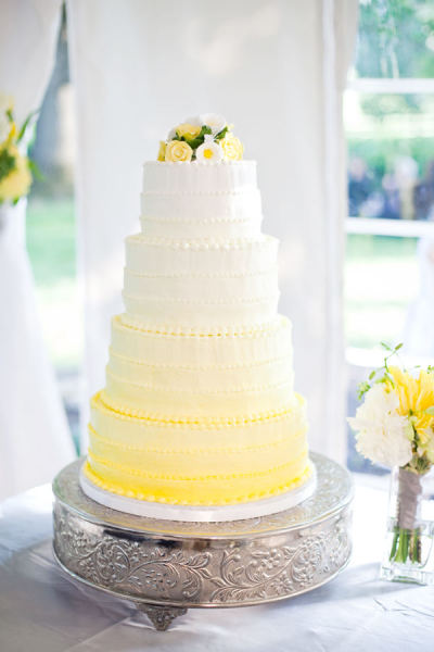 Ombre Wedding Cake Yellow and White