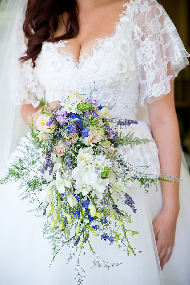 Purple White Blue Cascade Bouquet // The Picturess photography // Styled by Pretty in Stains // via www.ConfettiDaydreams.com //