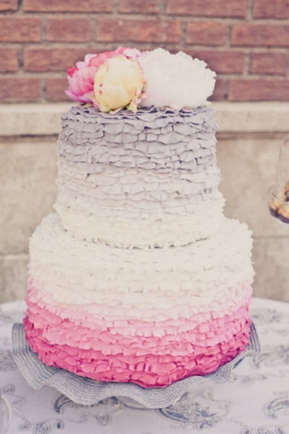 Ruffle Ombre Wedding Cake