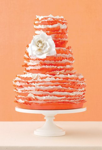 Ruffle Wedding Cake Bright Orange and White
