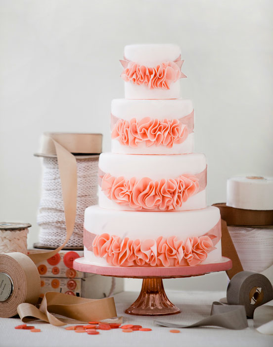 Ruffle Wedding Cake - Peach