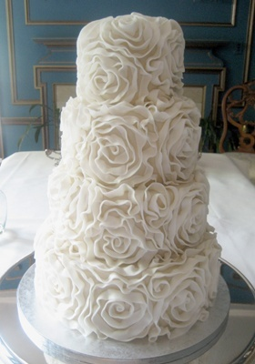 Ruffle Wedding Cake White Roses