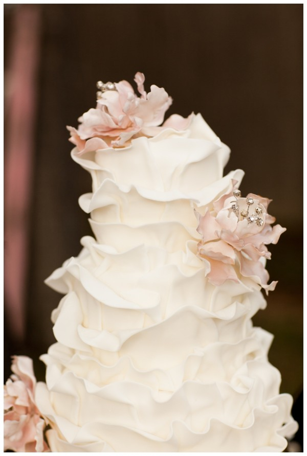 Ruffle Wedding Cake White with Flowers