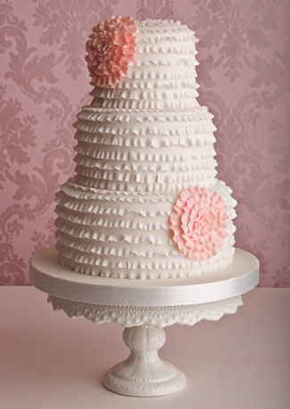 Ruffle Wedding Cake White with Pink Flowers