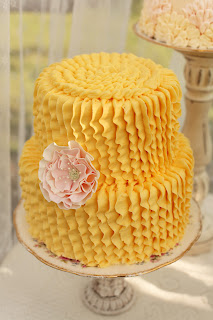 Ruffle Wedding Cake Yellow with Pink Flower