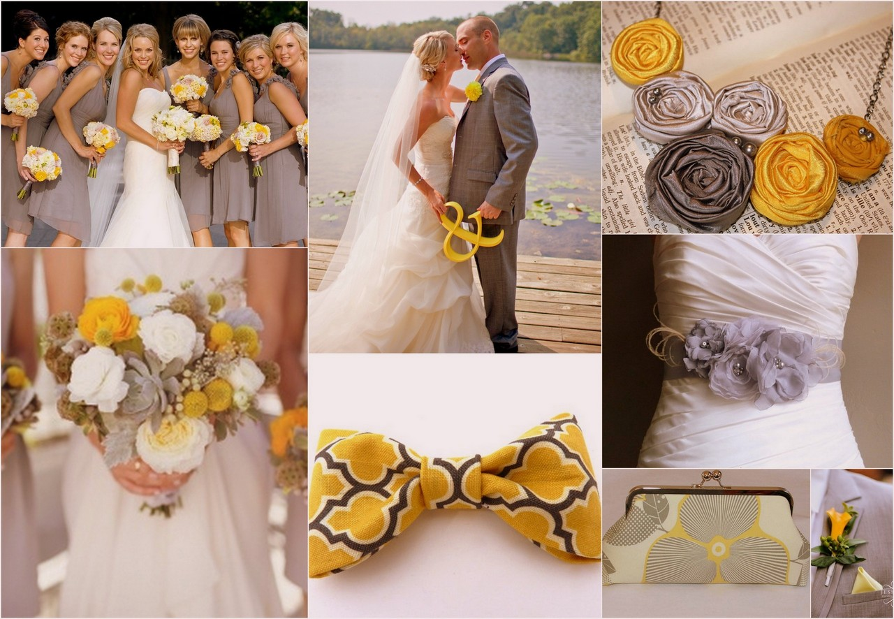 Yellow and Grey Wedding Theme Bridal Looks