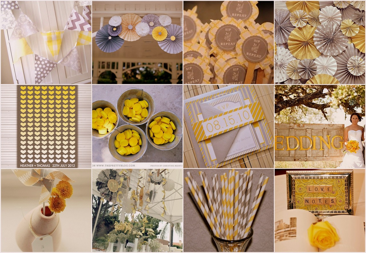 Yellow and Grey Wedding Theme Decor & Stationary
