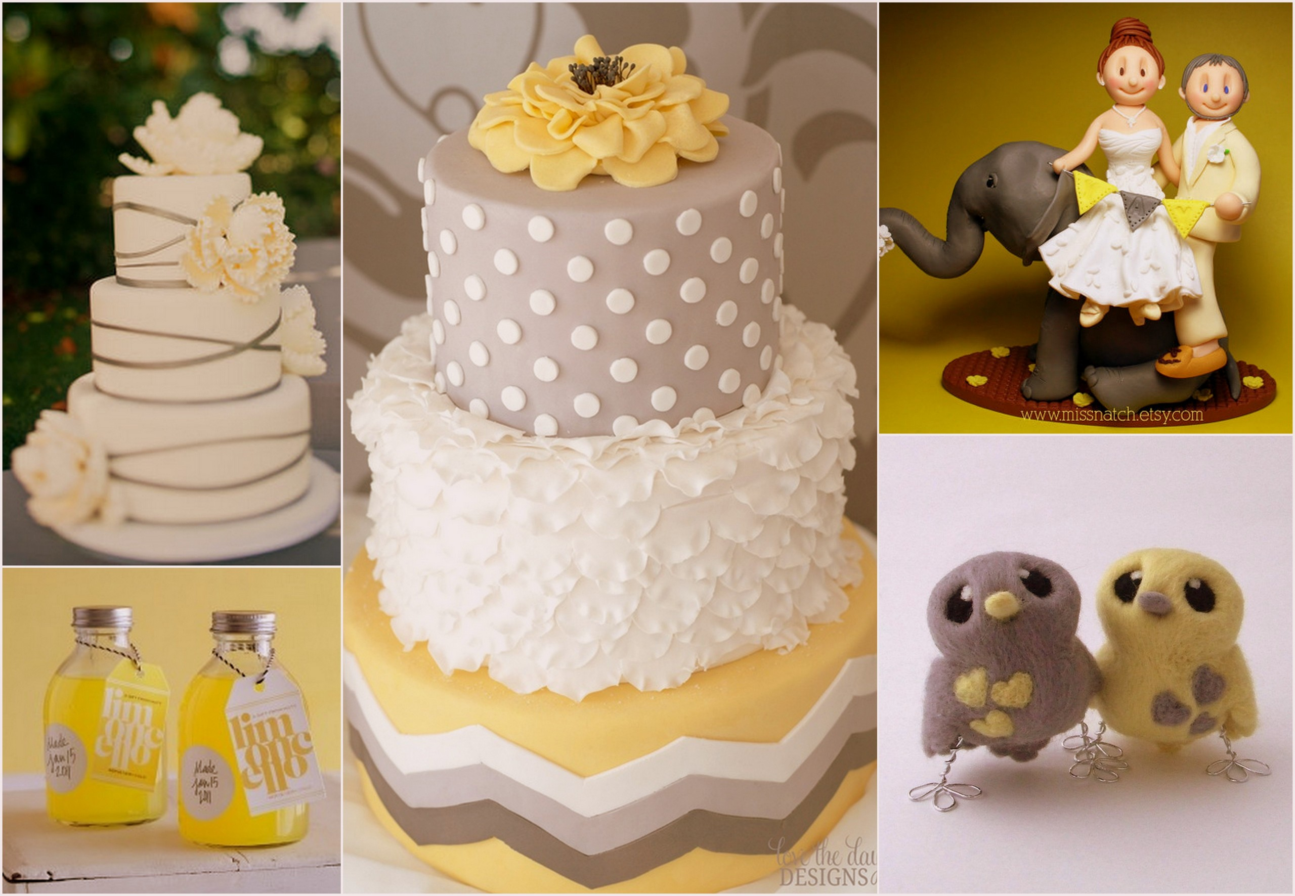 yellow and grey wedding cake top yellow and grey