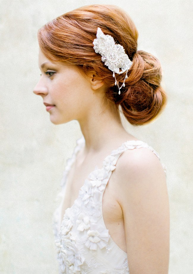 Wedding Updo Bridal Hairstyle :: Pearl & Crystal Bridal Hair Comb from Sibo Designs ::