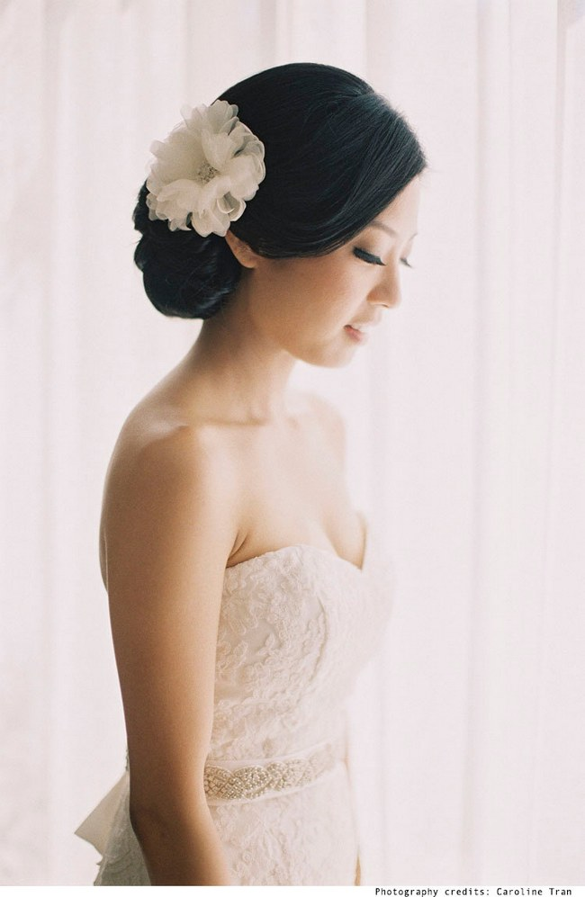Wedding Updo Bridal Hairstyle :: Sheer Silk Wedding Hair Flower from Wish Piece :: Caroline Tran photography