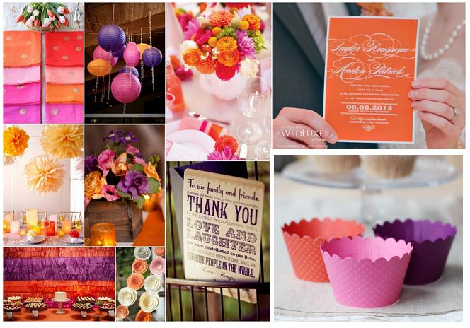 Pink-Purple-and-Orange-Wedding-Decor-Stationary-Favors