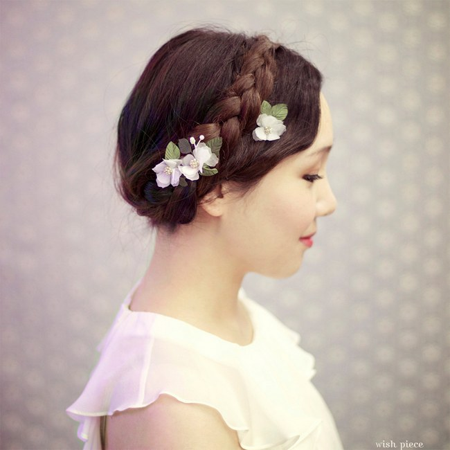 Wedding Upstyle with Braids :: Small Wedding Hair Flower by Wish Piece ::