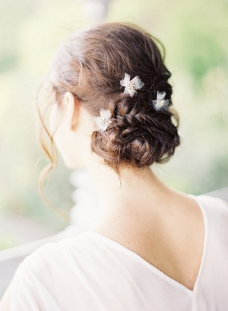 Wedding Upstyle with Braids :: Imani Bobby Pins by Hushed Commotion :: Jen Huang Photography