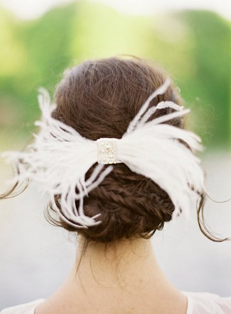 Wedding Upstyle with Braids :: Sylvia Feather Bow by Hushed Commotion :: Jen Huang Photography