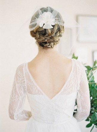 Wedding Upstyle with Braids :: Blusher Veil with Silk Flower by Hushed Commotion :: Jen Huang Photography