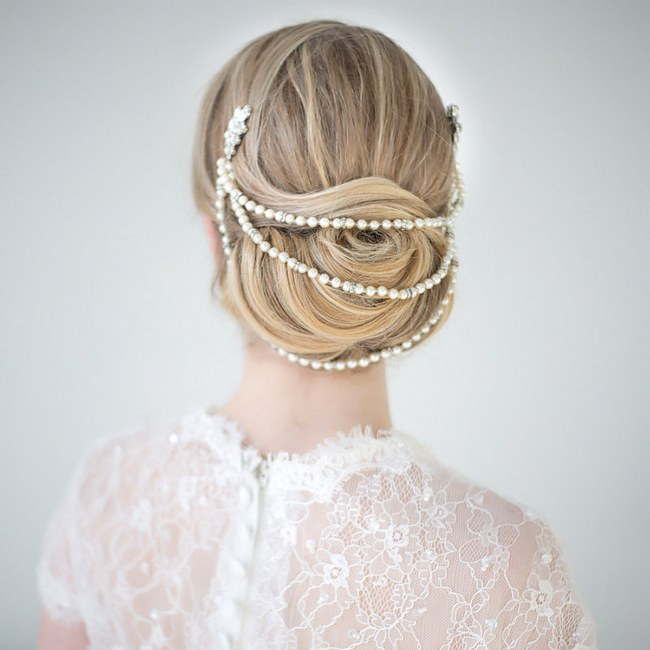 Wedding Upstyles & Bridal Hairdos :: Bun draped in Pearl Headpiece from Powder Blue Bijoux :: Photography by www.maruphoto.ca