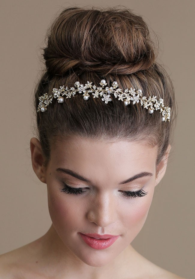 Wedding Upstyles & Bridal Hairdos :: Bun with Crystal Halo