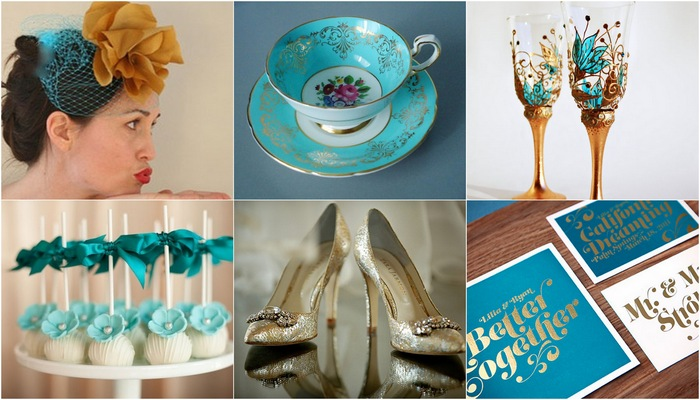 Teal, Turquoise & Gold Wedding Theme |
