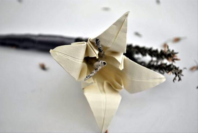 DIY Vintage Origami Lily Wedding Bouttonierres