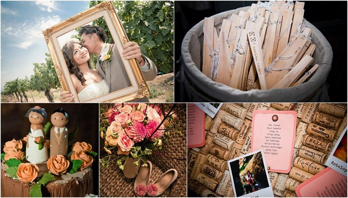 Pink & Peach Summer Vineyard Vintage Wedding