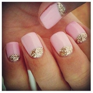 Pink Nude gold Glitter Nails DIY