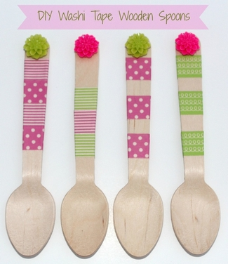 DIY Washi Tape Wooden Spoons
