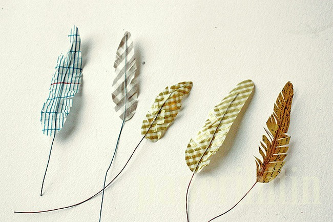 DIY Washi Tape Feathers