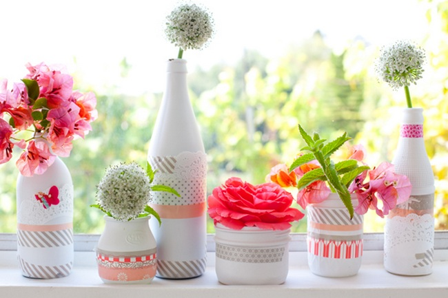 DIY Washi Tape Painted Flower Vases