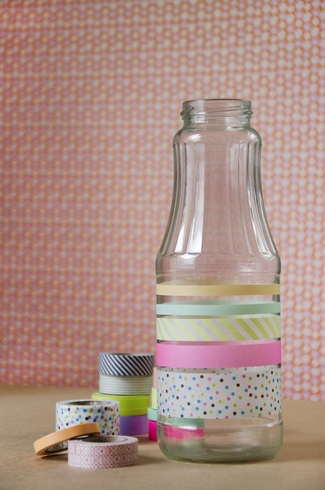 DIY Washi Tape Flower Bottle Vases