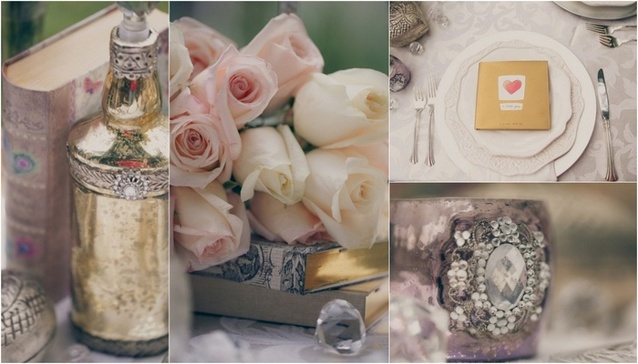 Metallic & Blush Vintage Tablescape Wedding Inspiration