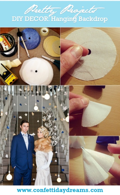{DIY DECOR} Hanging Paper Mobiles Wedding Backdrop