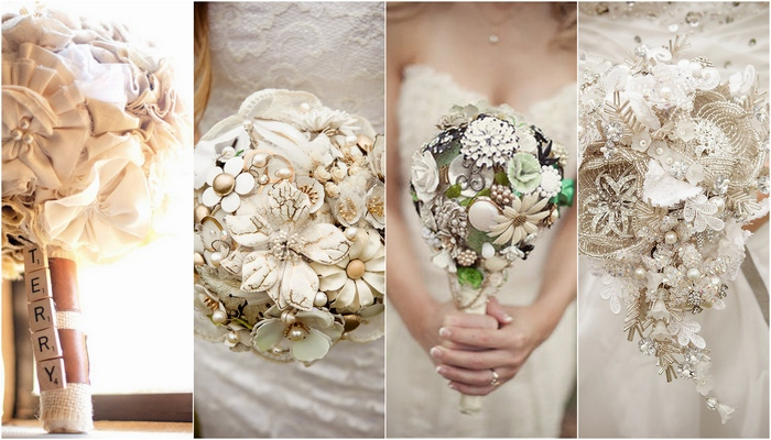 Trendy Tuesday: Button, Brooch & Fabric Bouquets