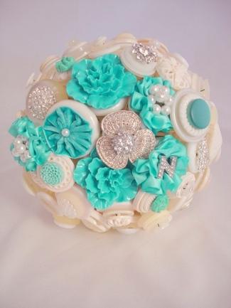 Heirloom Blue Button Brooch Bouquet