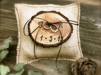Rustic Ring Bearer Burlap Wooden Pillow