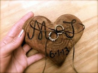 Rustic Wooden Ring Bearer Pillow