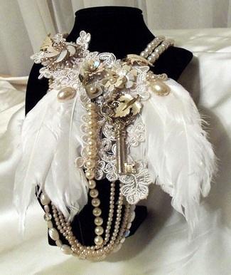 Vintage Bridal Bibs - Feather Fantasy Bib