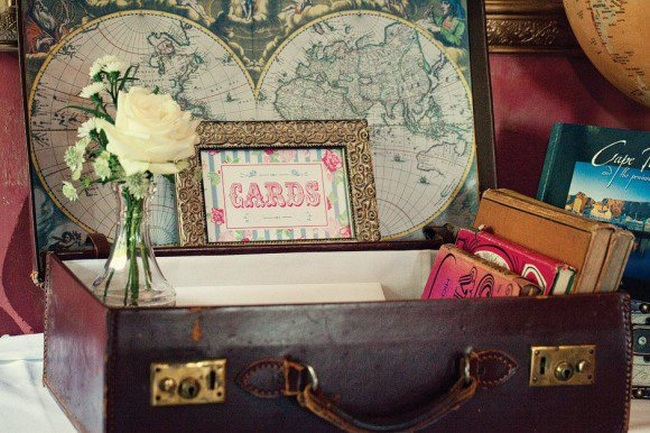 Vintage Wedding Décor Idea - Old Globe and Suitcase Gift Box