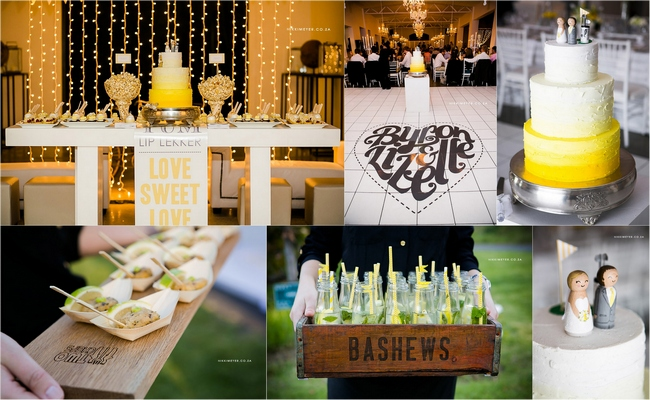 Yellow & Grey Wedding Theme Food, Drinks & Cake Inspiration Board