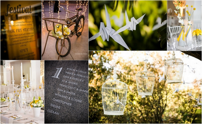 Yellow & Grey Wedding Theme Stationary & Decor Inspiration Board