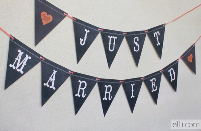 Chalkboard Just Married Bunting