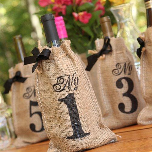 DIY Wedding Table Numbers Bags