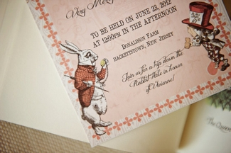 Charmant Pink Alice In Wonderland Wedding Invitation Printable 2